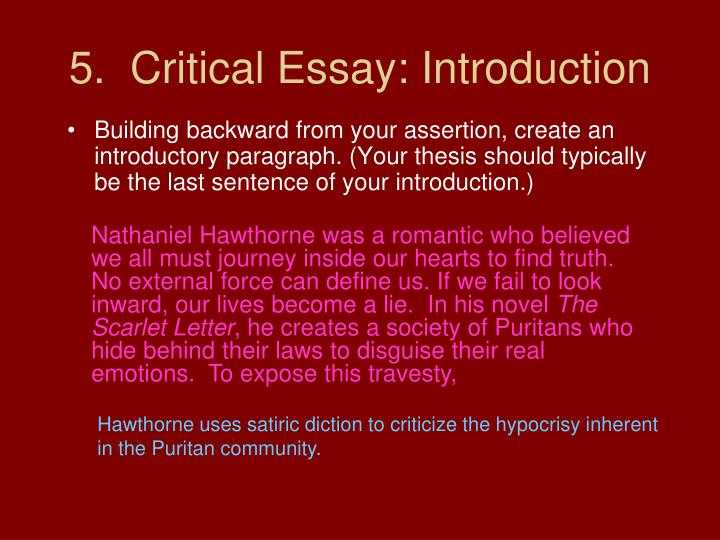 5.  Critical Essay: Introduction