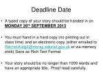 deadline date