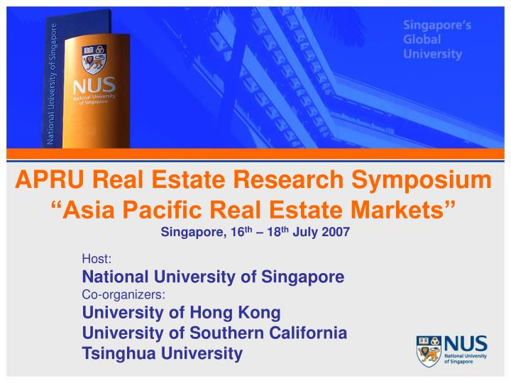 apru real estate research symposium asia pacific real estate markets