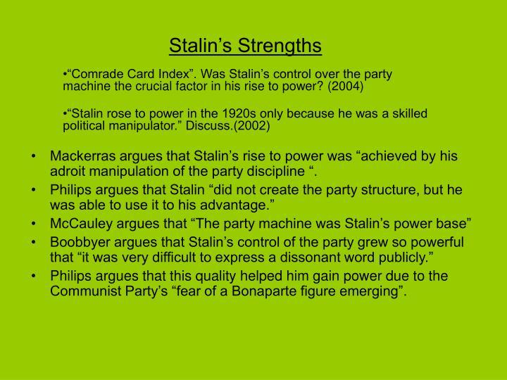 Stalin's Strengths