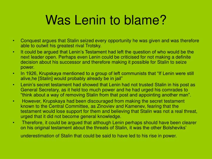 Was Lenin to blame?