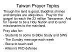 taiwan prayer topics