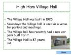 high ham village hall