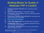 building blocks for quality in medicaid p4p in context