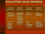 evaluating sales training