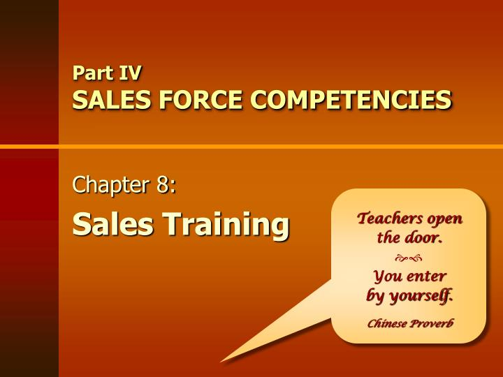 part iv sales force competencies n.