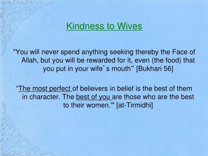 Kindness to Wives