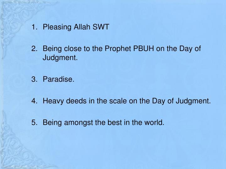 Pleasing Allah SWT
