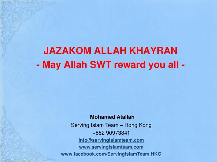JAZAKOM ALLAH KHAYRAN