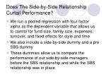 does the side by side relationship curtail performance