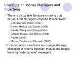 literature on money managers and incentives