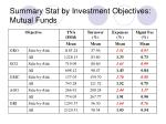 summary stat by investment objectives mutual funds