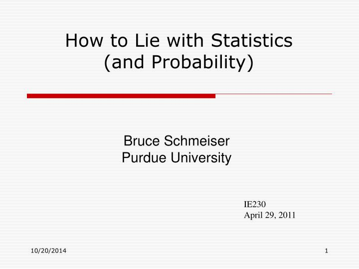 how to lie with statistics and probability n.