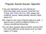 popular social issues specific