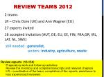 review teams 2012