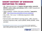 short history of emission reporting to unece