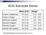 acic sub scale scores