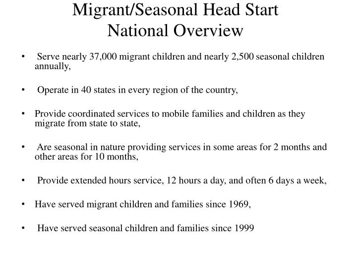 migrant seasonal head start national overview n.