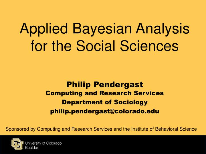 applied bayesian analysis for the social sciences n.
