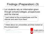 findings preparation 3