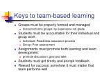 keys to team based learning