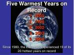 five warmest years on record