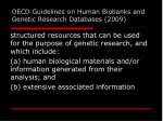 oecd guidelines on human biobanks and genetic research databases 2009