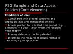 p3g sample and data access policies core elements