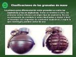 clasificaciones de las granadas de mano