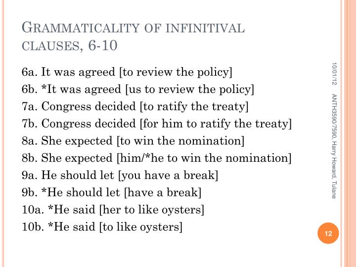 Grammaticality of infinitival clauses, 6-10