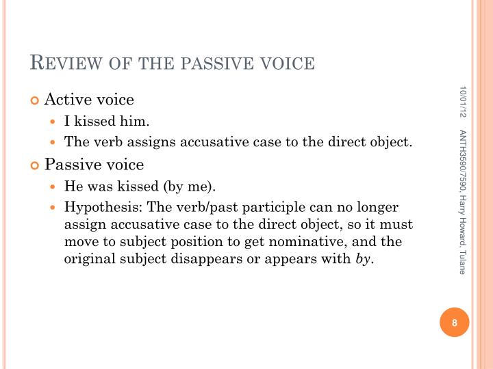 Review of the passive voice