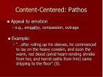 content centered pathos