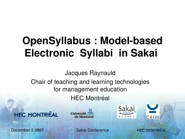 opensyllabus model based electronic syllabi in sakai n.
