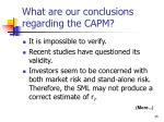 what are our conclusions regarding the capm