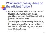 what impact does r rf have on the efficient frontier