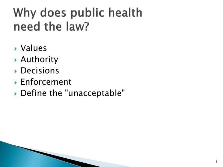 Why does public health need the law