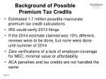 background of possible premium tax credits