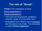 the role of threat