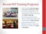 recent hyi training programs