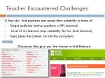 teacher encountered challenges