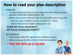 how to read your plan description