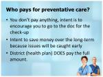 who pays for preventative care