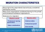 migration characteristics