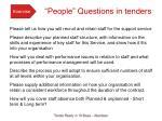 people questions in tenders