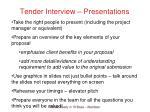 tender interview presentations