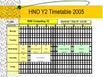hnd y2 timetable 2005