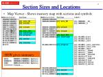 section sizes and locations