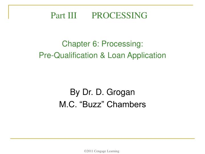 chapter 6 processing pre qualification loan application n.