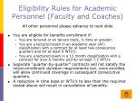 eligibility rules for academic personnel faculty and coaches