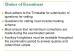 duties of examiners